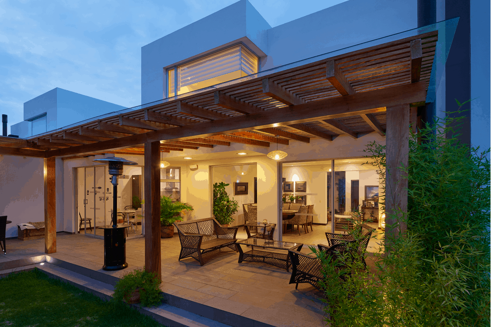 Beautiful modern terrace lounge with pergola